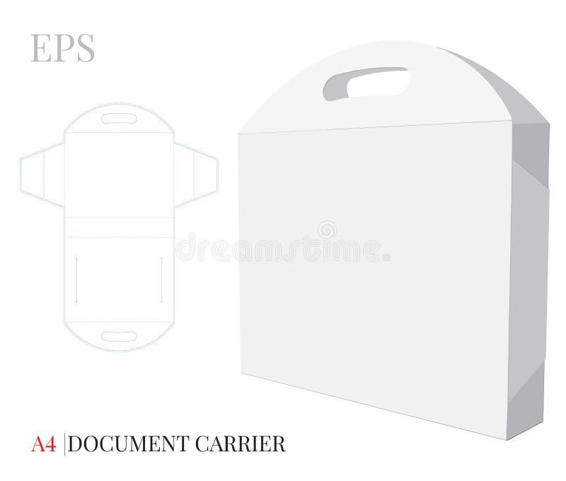Carpeta A4 del documento con la plantilla de la manija El vector con cortado con tintas/el laser cortó capas Blanco, espacio en b ilustración del vector