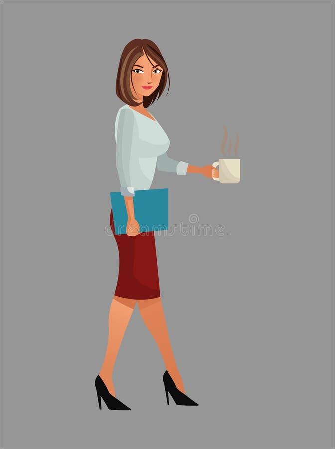 Carpeta derecha bonita del café de la taza del trabajo de oficina de la mujer libre illustration