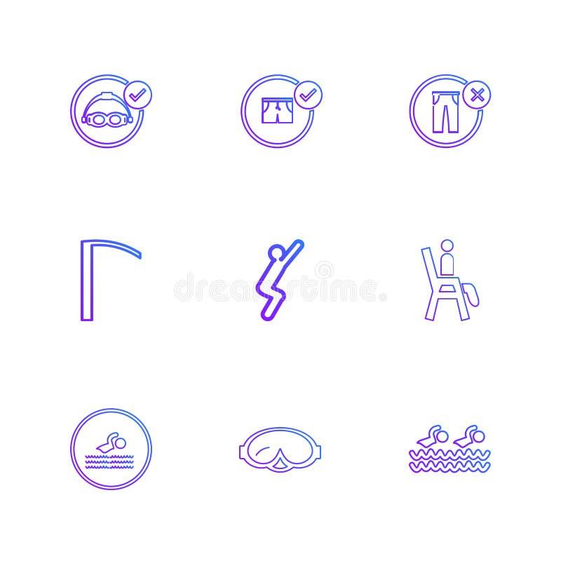 carpeta, ficheros, verano, playa, comida campestre, bebidas, iconos del EPS fijados ilustración del vector