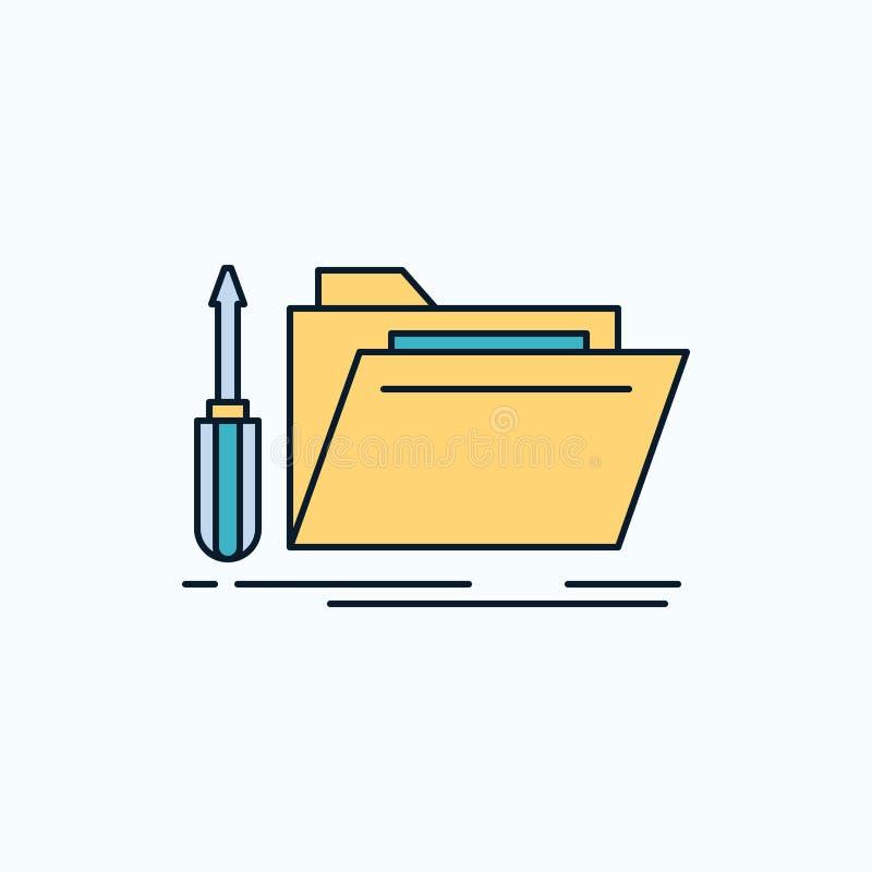 carpeta, herramienta, reparación, recurso, icono del plano de servicio muestra y s?mbolos verdes y amarillos para la p?gina web y ilustración del vector