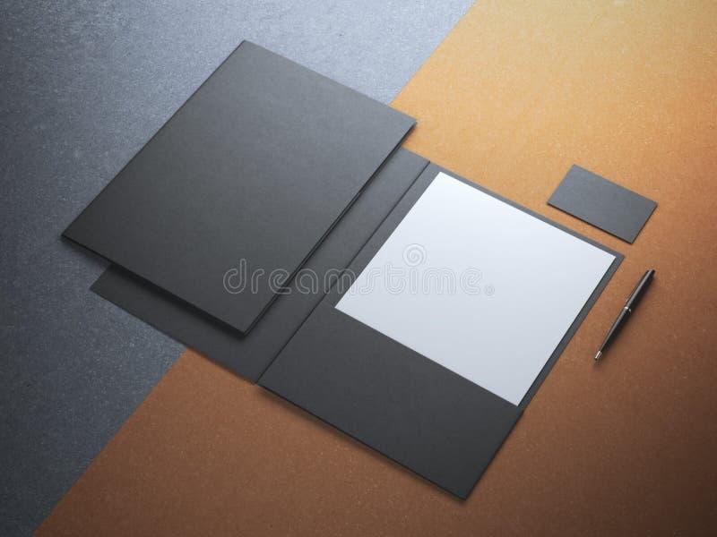 Carpeta negra con la hoja del Libro Blanco imagenes de archivo