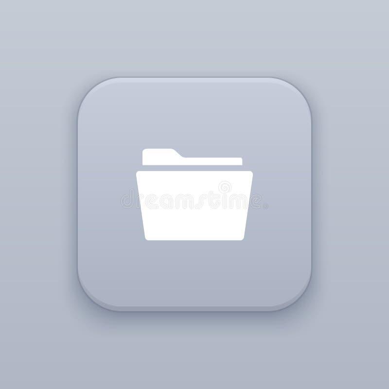 Carpeta, organización, botón gris del vector con el icono blanco ilustración del vector