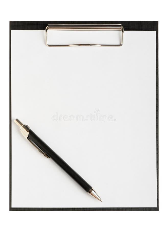 Carpeta para los papeles con la pluma imagen de archivo