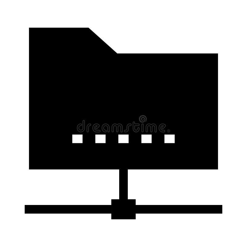 Carpeta que comparte el icono de los glyphs del vector ilustración del vector