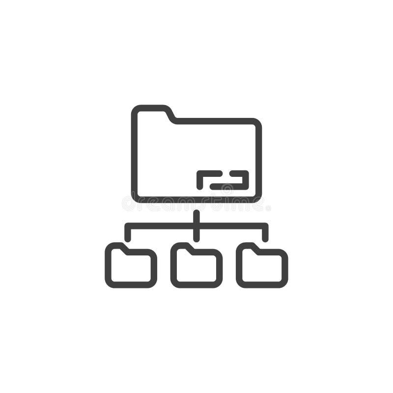 Carpeta que comparte la línea icono ilustración del vector