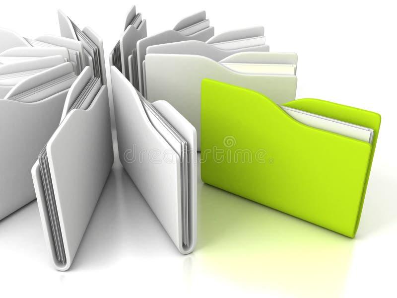Carpetas blancas de la oficina con el verde uno en blanco stock de ilustración