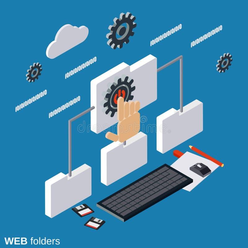 Carpetas del web, concepto del vector del establecimiento de una red libre illustration