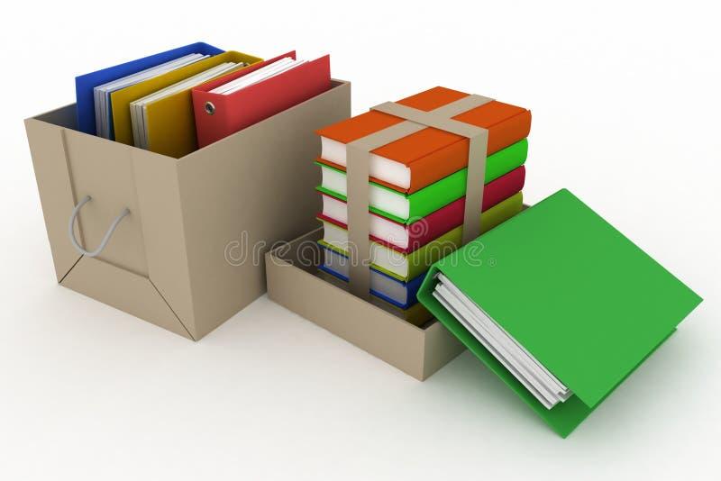 Carpetas y libros de la oficina en caja de cartón stock de ilustración