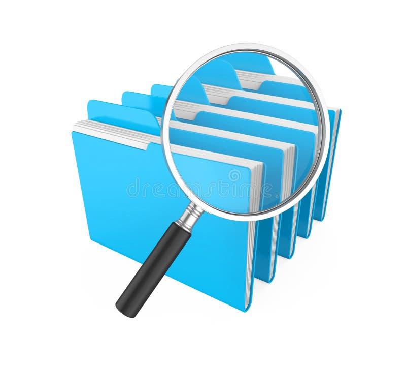 Carpetas y lupa aisladas Concepto de la búsqueda del fichero stock de ilustración