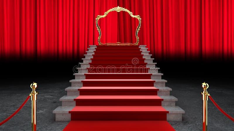 Carpete de Evento Vermelho, Escada e Barreira de Cordas Ouro Conceito de Sucesso e Triunfo, renderização 3d ilustração do vetor