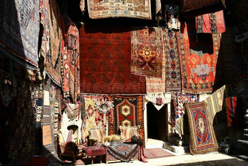 Carpets shop. In Cappadocia area Turkey royalty free stock photo