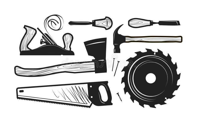 Carpintaria, ícones da obra de carpintaria Grupo de ferramentas tais como o machado, serrote, martelo, plaina, serra circular do  ilustração royalty free
