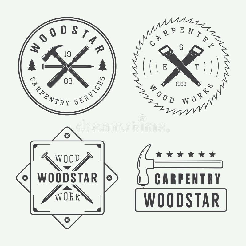 Carpintaria do vintage ou logotipo do mecânico, emblema, crachá, etiqueta ilustração royalty free