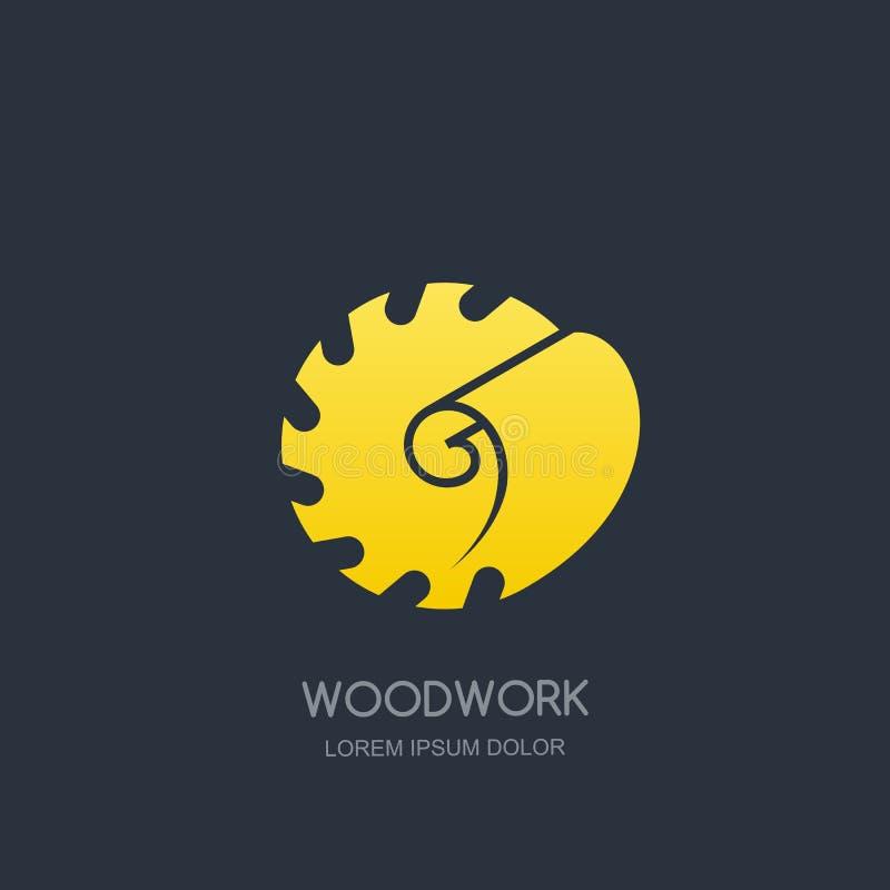 Carpintaria e conceito do emblema do logotipo da carpintaria Serra circular e madeira que barbeiam, projeto do ícone da etiqueta  ilustração royalty free
