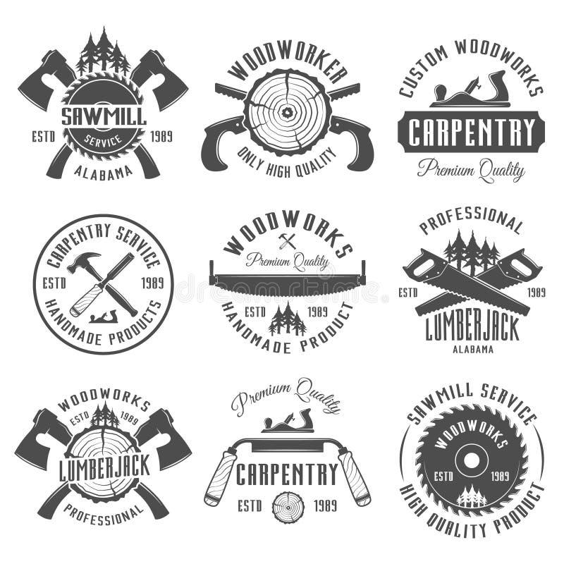 Carpintaria e emblemas do vintage do vetor dos carpinteiros ilustração stock
