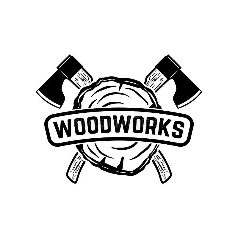 Carpintarias Molde do emblema com os machados cruzados do lenhador Projete o elemento para o logotipo, etiqueta, emblema, sinal ilustração royalty free