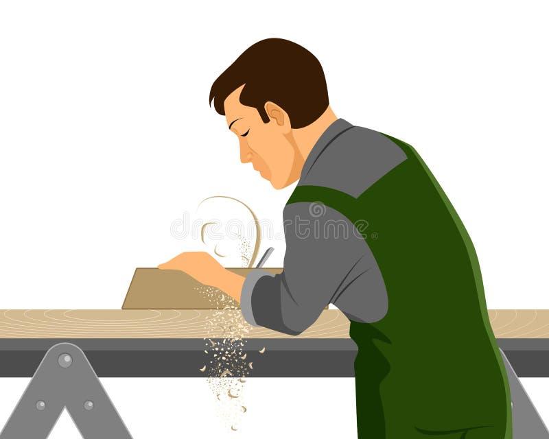 Carpinteiro com plano ilustração stock