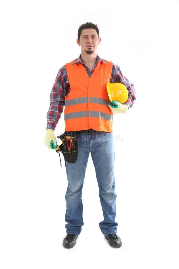 Carpinteiro do contratante de construção no branco fotos de stock royalty free