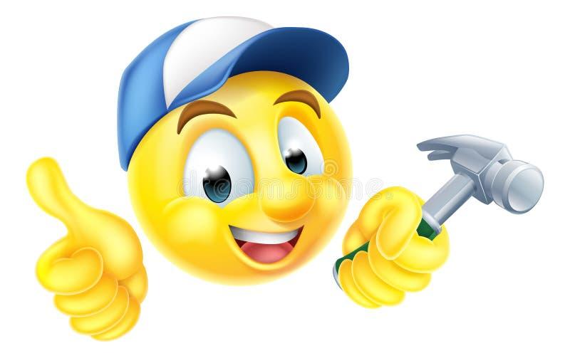 Carpinteiro Emoji Emoticon com martelo ilustração do vetor