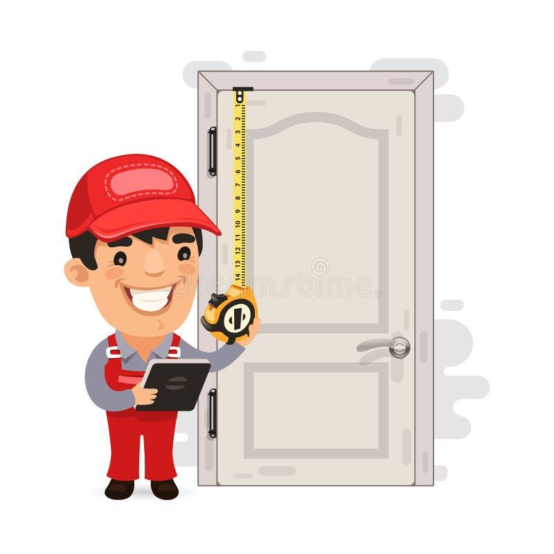 Carpinteiro Measures a porta velha ilustração royalty free