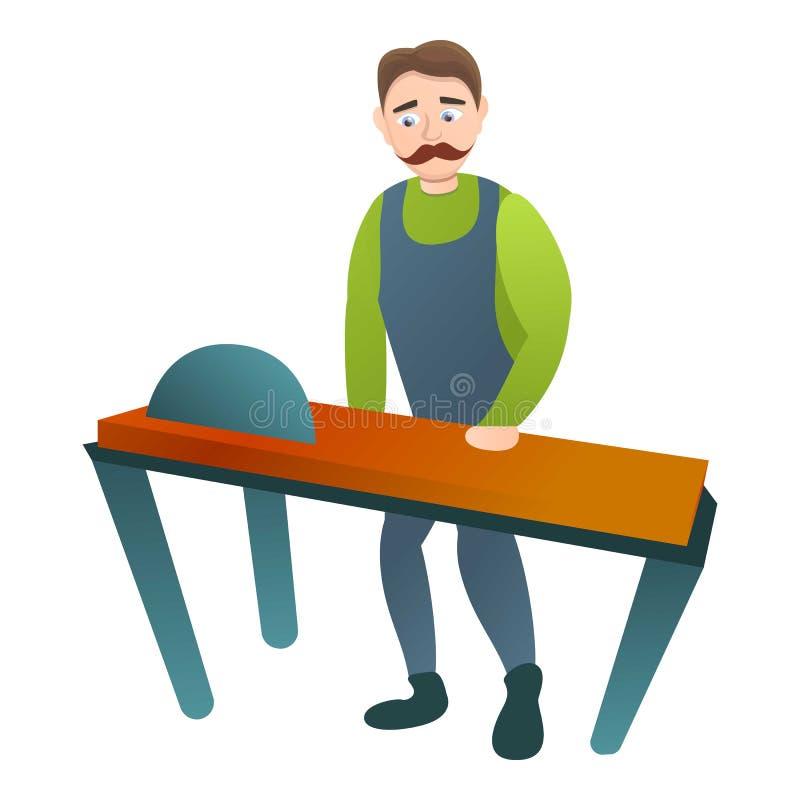 Carpinteiro no ícone da máquina da serra, estilo dos desenhos animados ilustração do vetor