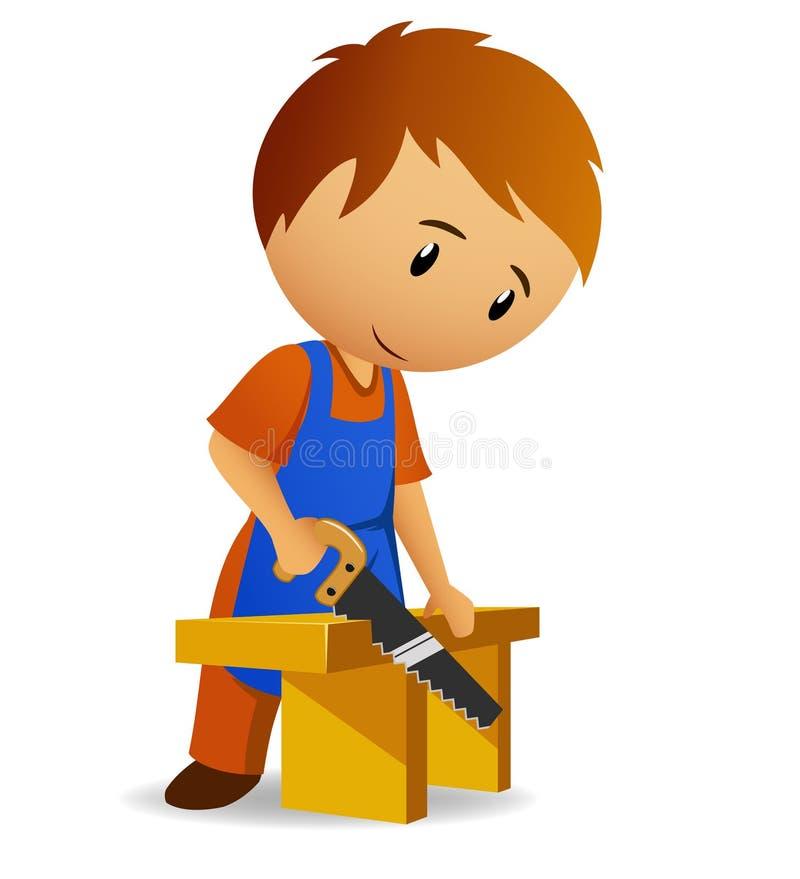 Carpinteiro que corta o painel de madeira com handsaw ilustração do vetor