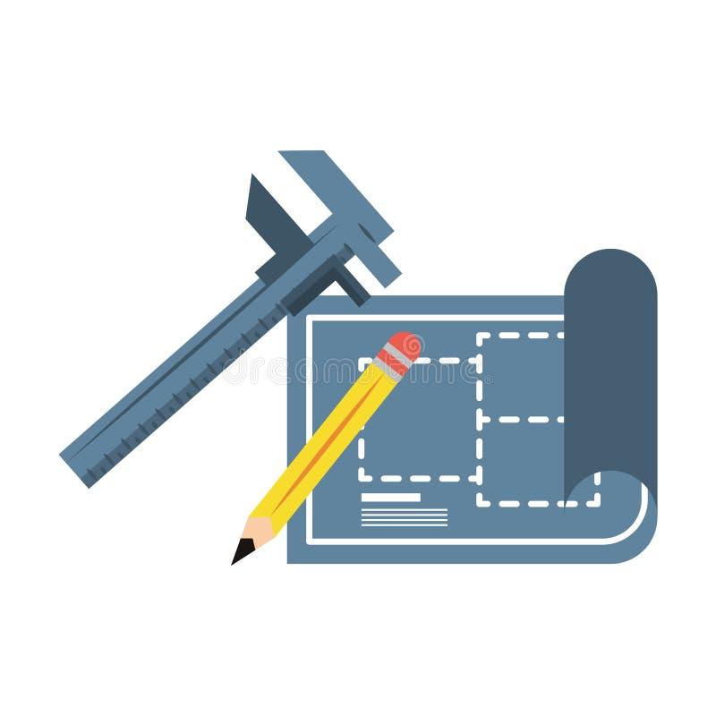 Carpintería e historieta de las herramientas del constrution stock de ilustración