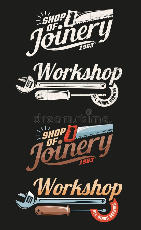 Carpintería retra y taller de los emblemas ilustración del vector