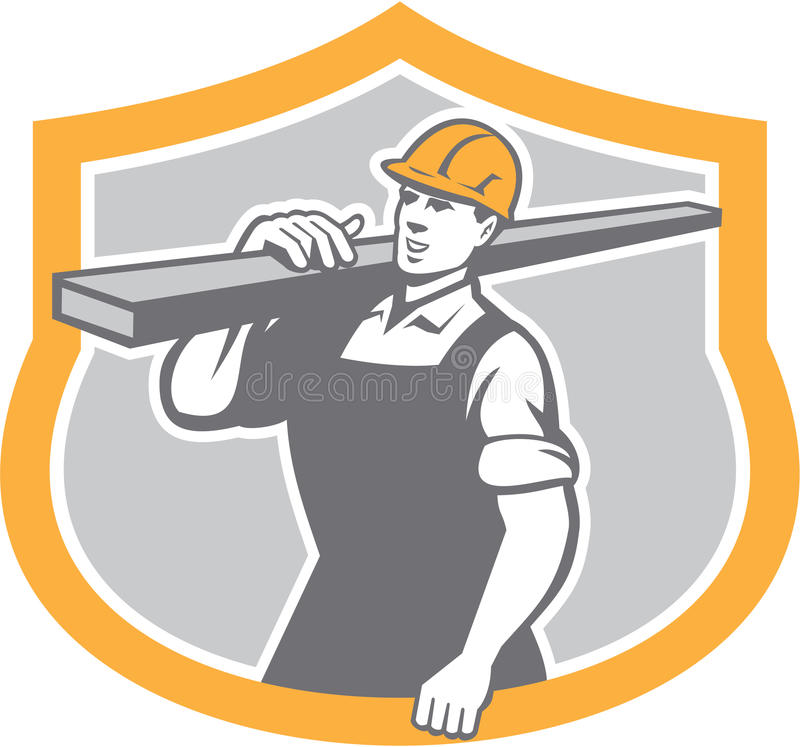Carpintero Carry Lumber Shield Retro stock de ilustración