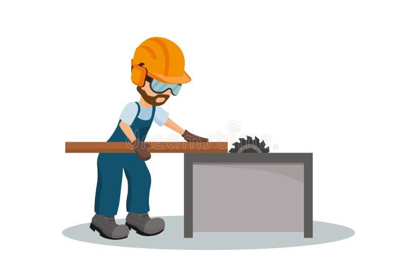 Carpintero de sexo masculino que corta un tablón de madera con el equipo de la seguridad en el trabajo del OS Ilustración del vec ilustración del vector