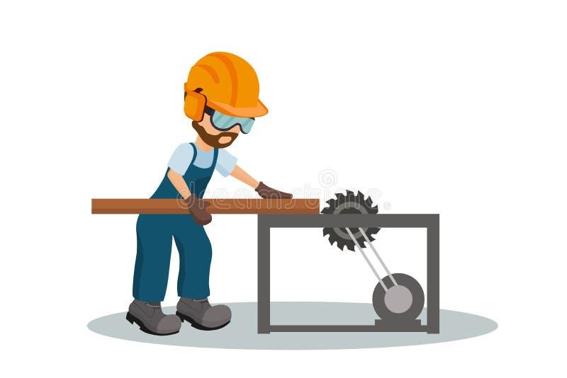Carpintero de sexo masculino que corta un tablón de madera con el equipo de la seguridad en el trabajo del OS Industrial vio dise libre illustration