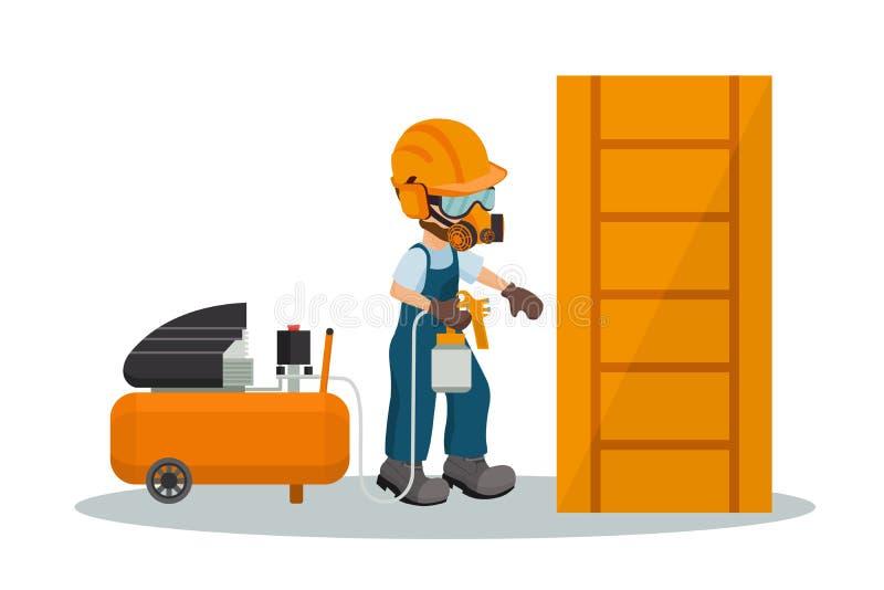 Carpintero de sexo masculino que pinta una puerta de madera con un arma de la pintura y un compresor con el equipo de la segurida libre illustration