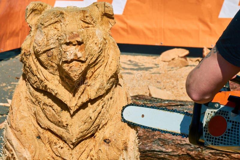 Carpintero experimentado que hace una escultura de madera grande del oso con una motosierra imagenes de archivo