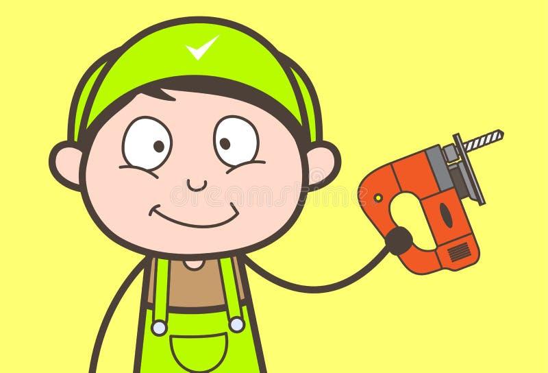 Carpintero feliz Holding de la historieta un ejemplo del vector de la perforadora libre illustration