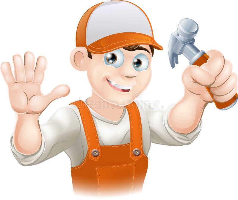 Carpintero o constructor con el martillo stock de ilustración