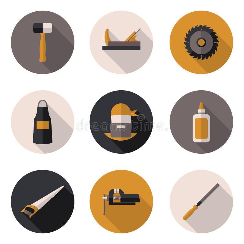 Carpintero plano de los iconos stock de ilustración