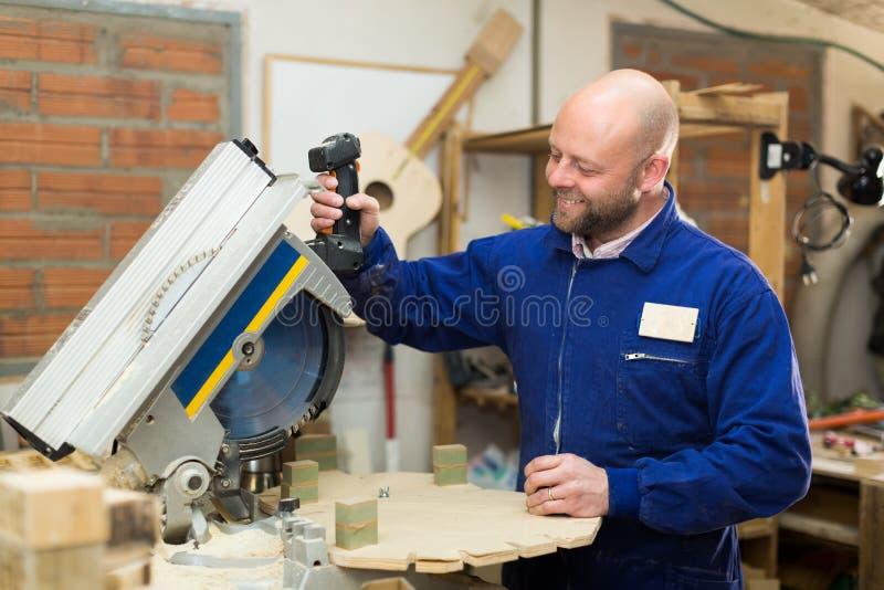 Carpintero profesional que usa la poder-sierra fotos de archivo libres de regalías
