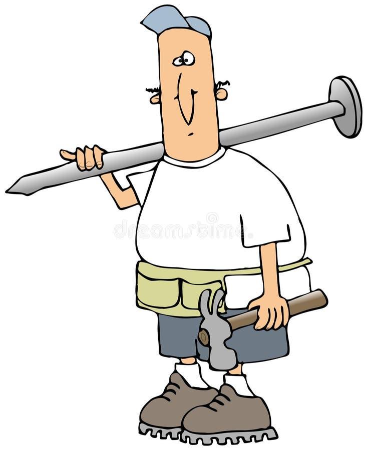 Carpintero que lleva un clavo gigante libre illustration