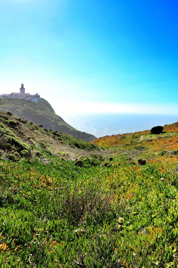 Carpobrotus Edulis meadow surrounding Cabo da Roca lighthouse in Portugal royalty free stock photo