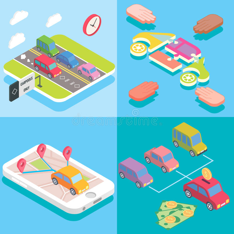 Carpool service concept in isometric style design. Vector flat 3d icons. People sharing cars. Mobile smartphone to share royalty free illustration