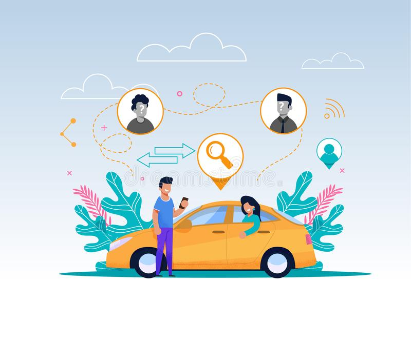 Carpool Service Illustration. Cartoon Character. Carpool Service Illustration. Cartoon Guy Character with Mobile Phone Wait for Cab to Ride. Wooman Passenger vector illustration