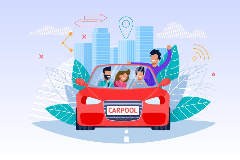 Carpool Service Illustration. Weekend Journey. Carpool Service. Weekend Journey. Young Man and Woman People Character in Red Car. Drive Cooperation Technology stock illustration