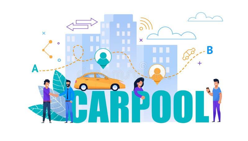Carpool Wektorowy Płaski sztandar Przewieziony współpraca ilustracji