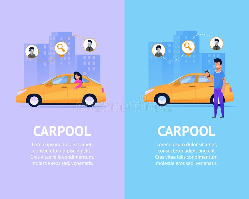 Carpoolbaneruppsättning Plan illustration för modern taxi stock illustrationer