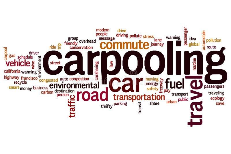 Carpooling Wortwolke lizenzfreie abbildung