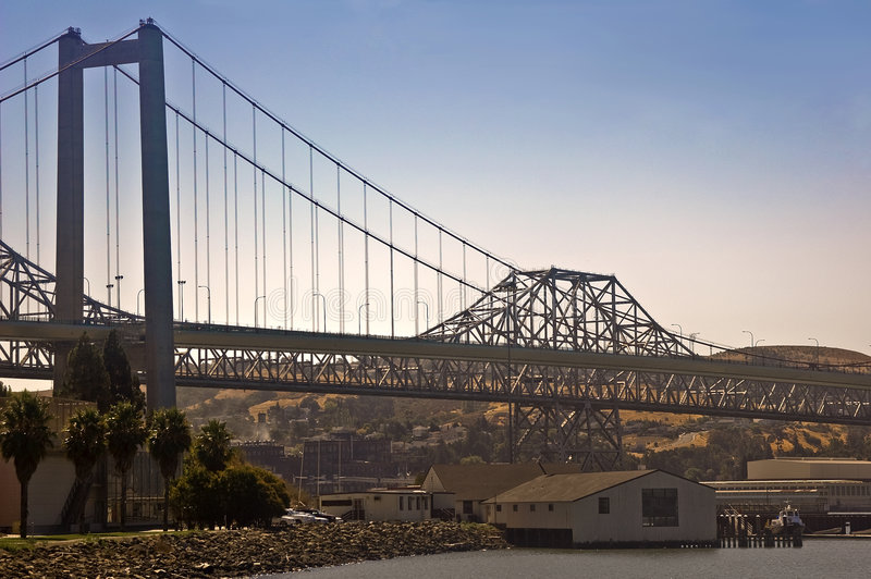 Carquinez Bridge on San Francisco Bay stock photo