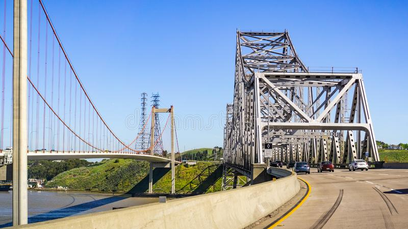 Carquinez Bridge on a sunny day, Interstate 80, North San Francisco bay, California stock images