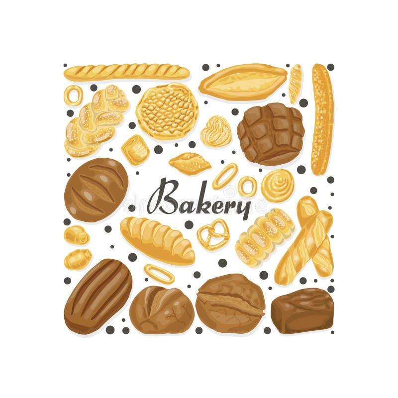 Carré d'isolement des produits colorés de boulangerie illustration de vecteur