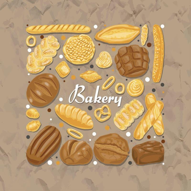 Carré d'isolement des produits colorés de boulangerie illustration libre de droits