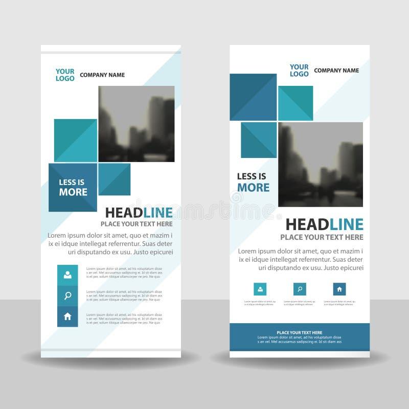 Carrés bleus enroulent la conception de bannière d'insecte de brochure d'affaires, fond géométrique d'abrégé sur présentation de  illustration libre de droits